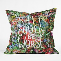Craft Boner Shit could be worse floral typography Throw Pillow