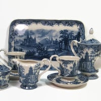 Blue & White China Tea Set Madison Bay China With Serving Tray, Country Side Reproduction Transferware New Vintage