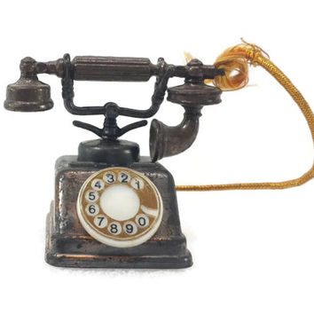 Vintage Die Cast Miniature Mini Rotary Telephone, Durham Industries, Copper Tone Metal, Made in Hong Kong, Vintage Dollhouse Furniture