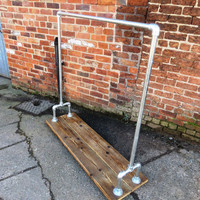 Reclaimed Industrial Chic Gas Pipe Clothes Hanging Rail. Shop Bar cafe Resturant Tables Steel and Wood Metal Hand Made 085