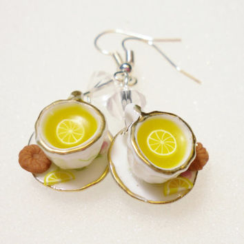 Lemon Tea Earrings. Polymer clay.