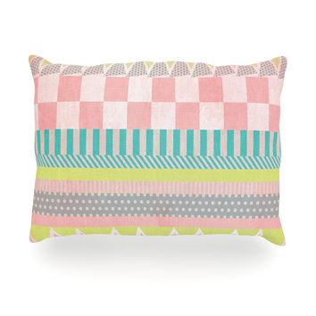 "Louise Machado ""Luna"" Pastel Pattern Oblong Pillow"