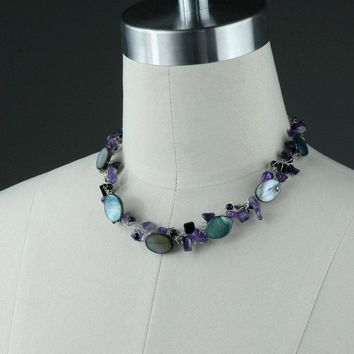 Purple shell chunky crocheted wiring necklace bridesmaids gifts Free US Shipping handmade Anni Designs