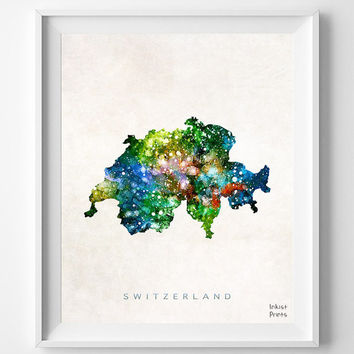 Switzerland Map, Watercolor, Swiss, Europe, Home Town, Poster, Art, Gift, Nursery, Living Room, Baby, Painting, Bedroom, world map [NO 467]