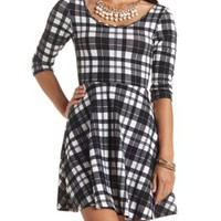 Three-Quarter Sleeve Plaid Skater Dress - Black Combo
