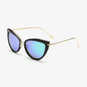 Cat Eye Sunglasses Mirror Lens Brand Designer