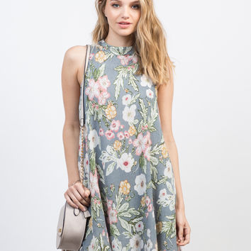 Floral Gauze Shift Dress - Medium