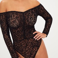 Black Velvet Sparkle Flock Bardot Ruched Bodysuit