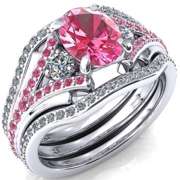 Arietis Oval Lab-Created Pink Sapphire Diamond Sides 3/4 Eternity Accent Pink Sapphire Ring