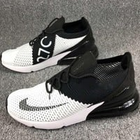 Nike Air Max 270 Knitted Flying Lines Half Palm Damping Air Cushion Sneakers F-CSXY black+white