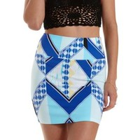 Blue Combo Geometric Print Bodycon Mini Skirt by Charlotte Russe