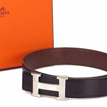 Auth HERMES H Buckle Belt Size£º60 Leather Silver-tone Black Brown 18567510
