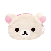San-X Rilakkuma Face-Shaped Plush Doll Mini Pouch  (Korilakkuma)