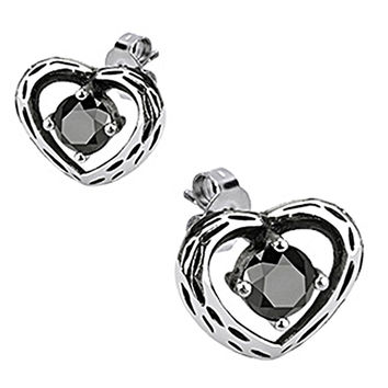 Spikes Womens 316L Surgical Stainless Heart Black CZ Stud Earring