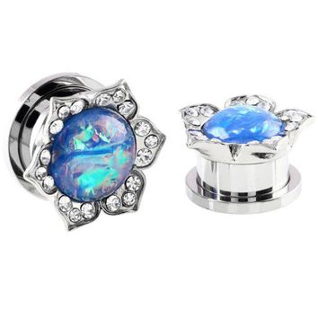 ONETOW Pair Steel Ear Plugs Tunnels Fake Opal Stone Earring Gauges Screw Fit Piercing Tunnels Plugs Ear Expander Rings Body Jewelry