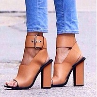 Ankle Band Waist Open Toe High Chunky Heel Sandals