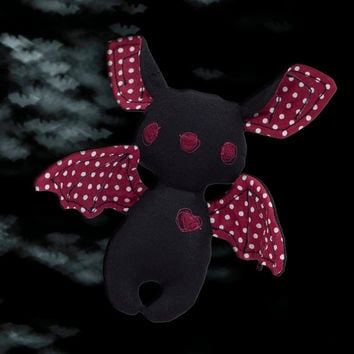 Halloween Bat Stuffed Animal Toy Black Burgundy Bat Halloween Decoration with Flexible wings Fabric Halloween Bat Toy Plushie Trick or treat