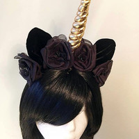 Amalthea Unicorn Horn Headdress | Handmade Unicorn Headband | Mori Goth Mori Kei Gothic Lolita Fairy Kei Fantasy Cosplay Flowers Gold Kawaii