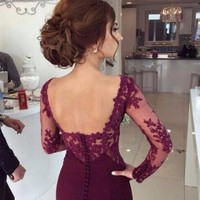 MACloth Mermaid Long Sleeves Jersey Lace Burgundy Evening Prom Gown Wedding Party Dress