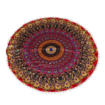 Festival Large Mandala Floor Pillows Round Shaped Bohemian Meditation Cushion Cover Ottoman Pouf