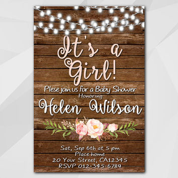Girls Baby Shower invitation, String light Watercolor Invitation, rustic Invitation, Custom Shower invitation etsy XB003w-3