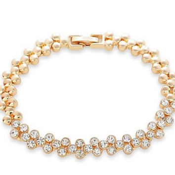 Elegant and Delicate Cubic Zirconia Gold or Silver Bracelet for Bridal, Wedding, Bridesmaids Gifts