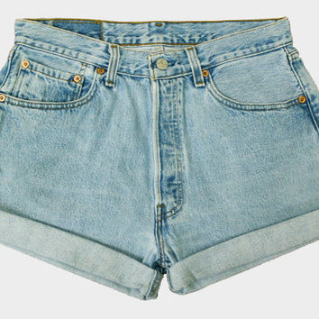 ALL SIZES - Vintage Levis 501's Roll Up / Cuffed High Waisted Denim Button Fly Shorts - Light Blue