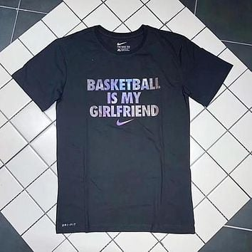 """Nike New Popular Personality """"Basketball Is My Girlfriend"""" Galaxy Letter Print Short Sleeve Couple T-Shirt Top Black I12928-1"""