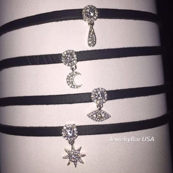Leather charmed chokers