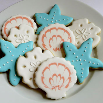 Seashell, sand dollars and starfish decorated cookie favors, 1 Dozen