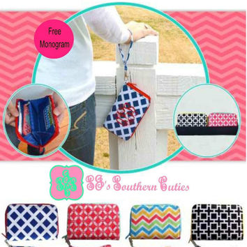 Monogram Preppy Wristlet Purse / Preppy Wristlet Bag