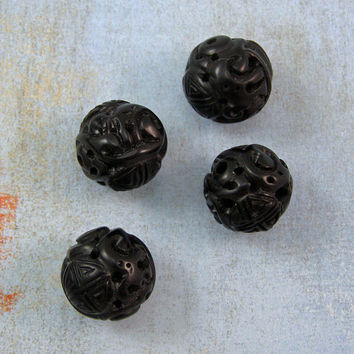 Black Cinnabar Carved 14mm Round Beads 50% off, qty 4