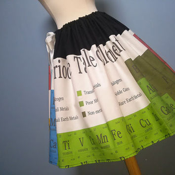 Periodic Table of Elements Skirt, Unique, Satin or Elastic Waistband, Plus Sizes, ALL Sizes!