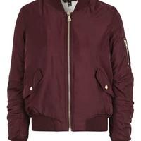TALL Burgundy Flo Fur Lined Bomber Jacket - Jackets & Coats - Clothing