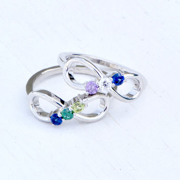 Infinity Birthstone Ring, Birthstone Infinity, Multiple Birthstone Jewelry, Infinity Jewelry, Mothers Jewelry, Family Ring, Mothers Ring
