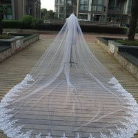 one layer lace edge Long 2 metre * 3 metre length bridal veils Cathedral length wedding veil bridal accessories