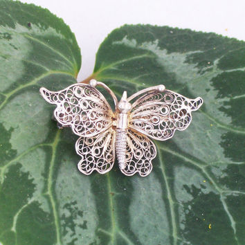 800 Silver Vintage Laced Wing Butterfly Pin Brooch Filigree