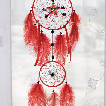 Red dream catcher  Larde dreamcatcher Coral featers Wall hanging Decor Dream catchers Starfish dreamcatchers Czech beads Bohemian mobile