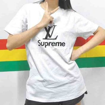 LV Louis Vuitton & Supreme Co-brand Classic Logo Simple Short Sleeve F-AA-XDD White