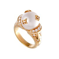 Chanel Comete White Pearl Diamond Yellow Gold Ring