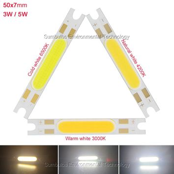 3W 5W COB strip LED light source chip on board 50x7mm COB bar for wall lamps table lantern car lights warm nature cool white