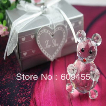 FREE SHIPPING+Choice Crystal Collection Lovely Crystal Bear Figurine Baby Birthday Party Shower Gift For Guest +100pcs/lot