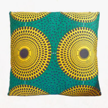 Stunning Green & Yellow Circle Abstract African Print Cushion Pillow Cover 16x16 or 18x18 inches