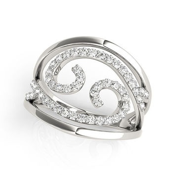 Luxe Baroque Swirl Design Diamond Ring in 14K White Gold (1/2 ct. tw.)