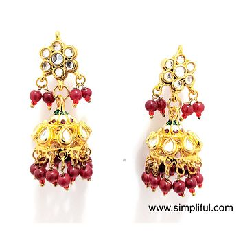 Meenakari and Kundan combination Jhumka Earring