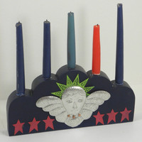 Angel in the Sky with Candles- Wooden Candleholder