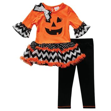 Youngland Halloween Jack-o'-Lantern Dress & Leggings Set - Baby Girl, Size: