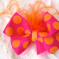 Pink and orange polka dot hair bow clip- Orange Feather Bow- Bow Hair Clip