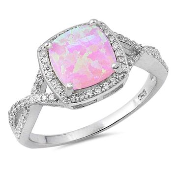 Pink Lab Opal Halo and Infinity Design with CZ Stones Set in the Sterling Silver Band