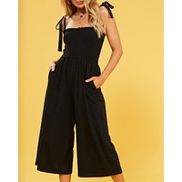 MINKPINK Smocked Jumpsuit With Ties in Black